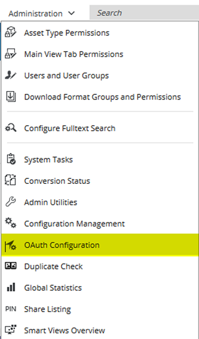 CELUM DAM Administration: OAuth Authentifizierungs-Einstellungen