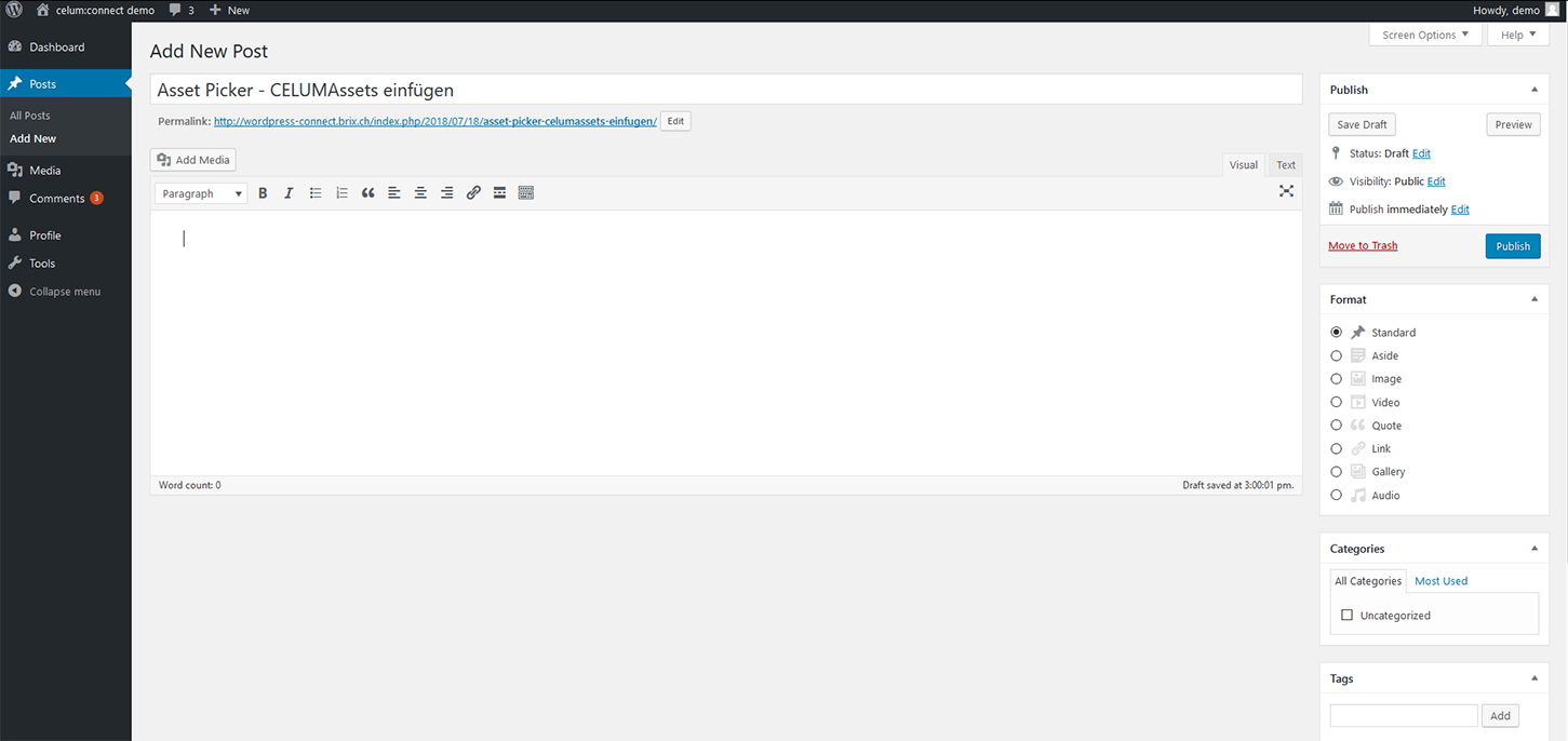 WordPress: Neuer Post