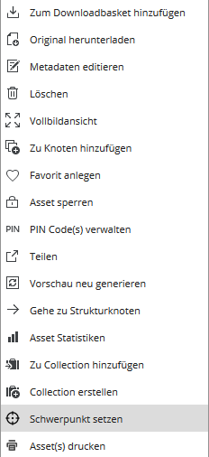 "Context menu ""set focal point"""
