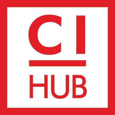 CI HUB Logo Print rot weiss 400px